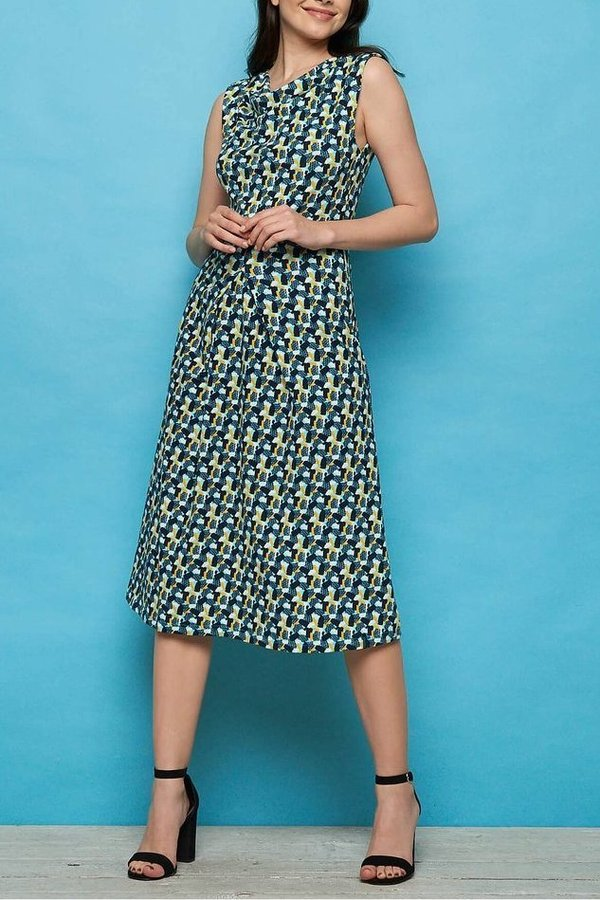Midi Kleid ANISA, Biobaumwolle, Blue candy, S-L - Tranquillo